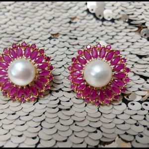 Pink and white stone stud earrings